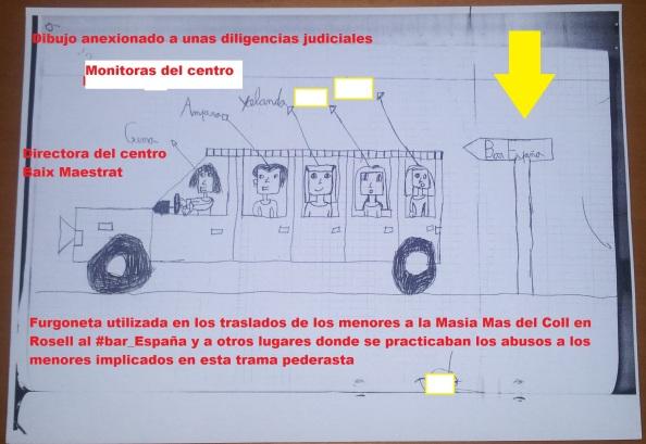 La furgoneta donde trasladaban a los niños del bar España