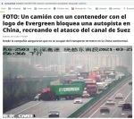 046 camion evergreen tapona a camiones rojos
